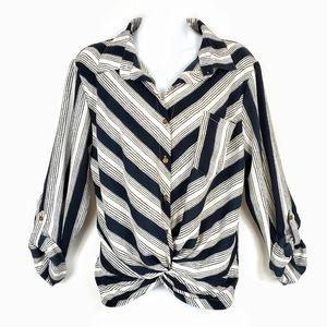 Contrast Stripe Wrap Faux Tie Button Up Shirt L